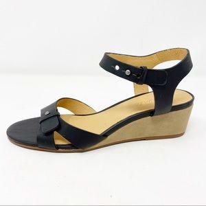 NEW $148 Madewell Black Leather JOAN Wedge Sandals